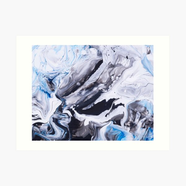 Abstract Blue Grey Marble Painting Art Print