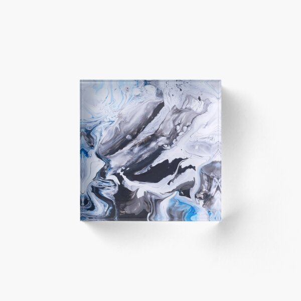 Abstract Blue Grey Marble Painting Acrylic Block