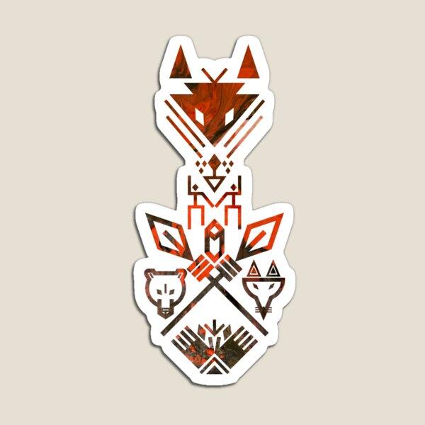 Tribal Sign Animals Wolf Bear Fox Spear Hand Totem Magnet