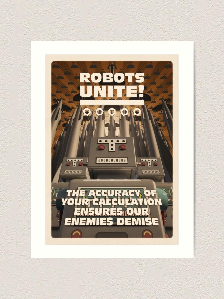 Alternate view of Robots Unite Art Print