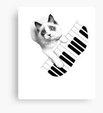 Cat Playing Piano Shirt Canvas Print