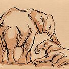 Big Love: Elephant Watercolor Painting #5 by Rebecca Rees