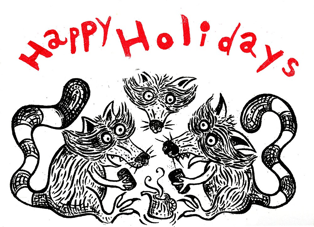 Happy Holidays from the Raccoons by kopeloff