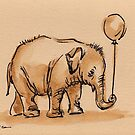 My Balloon: Baby Elephant Watercolor Painting #6 by Rebecca Rees