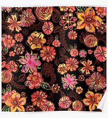 Yellow Orange Pink Flowers Watercolor Pattern on Black Poster