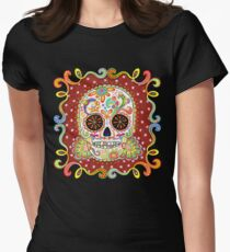 Colorful Day of the Dead Sugar Skull Shirt Women's Fitted T-Shirt