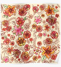 Yellow Orange Pink Flowers Watercolor Pattern on Cream Poster