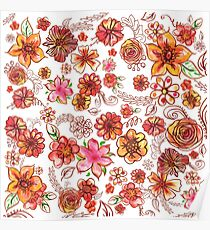 Yellow Orange Pink Flowers Watercolor Pattern on White Poster