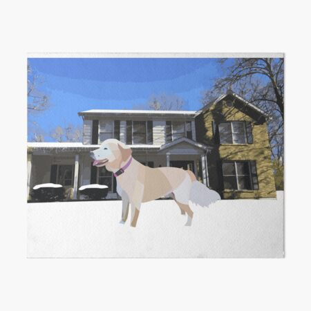Golden Retriever in the Snow Art Board Print