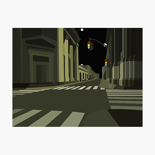 Look Down The Night Street Photographic Print