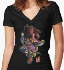 Fitzhywel's Fantastical Paraphernalia: Tiny Bard! Women's Fitted V-Neck T-Shirt