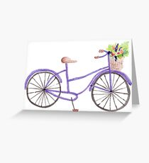 Purple Watercolor Bicycle Greeting Card