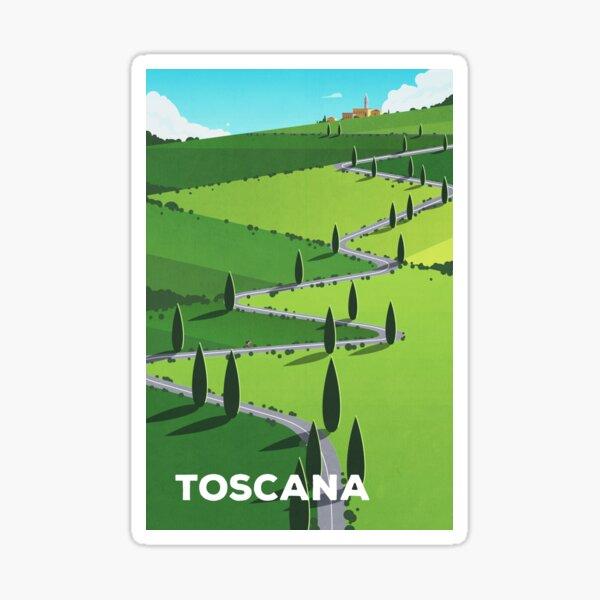 """Toscana"" (Tuscany) Cycling Poster Sticker"