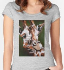 Giraffe, acrylic on canvas Women's Fitted Scoop T-Shirt