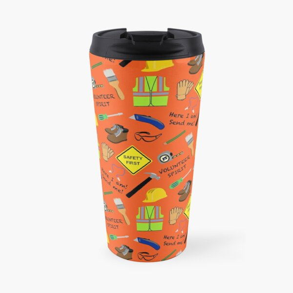 Safety First Construction Volunteer Orange Travel Mug
