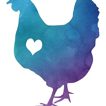 Adore Chickens Watercolor by Psitta