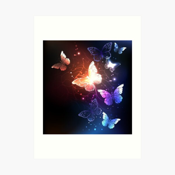 Glowing Night Butterflies on Black Background Art Print