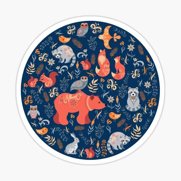 Fairy-tale forest. Fox, bear, raccoon, owls, rabbits, flowers and herbs. Circular ornament. Sticker
