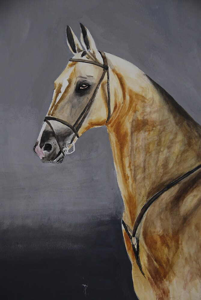 Sengar Akhal-Teke stallion watercolour by Michèle  van Kasteren