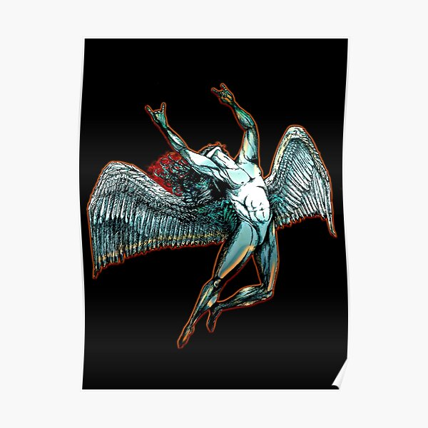 ICARUS THROWS THE HORNS - dark shadows  *awesome UNLISTED designs in my portfolio* Poster