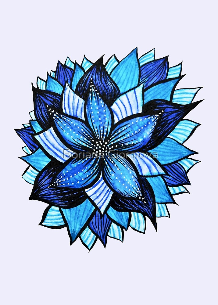 Abstract Blue Flower With White Dots by Boriana Giormova