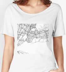 Queens - New York City - United States - Minimalist Design Map Women's Relaxed Fit T-Shirt