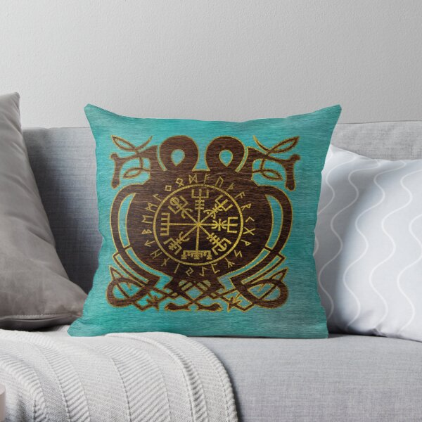 Vegvisir - Viking  Navigation Compass Throw Pillow