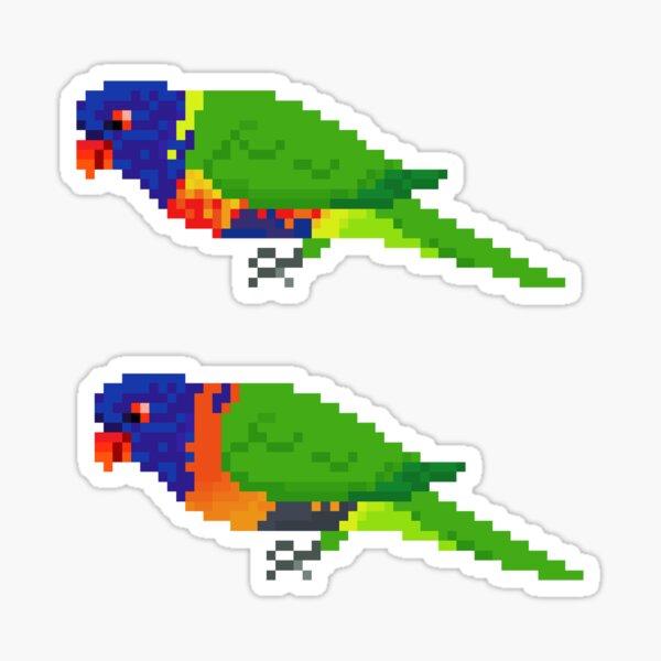 Pixel rainbow lorikeet x 2  Sticker