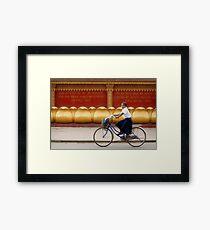 Bicycling - Siem Reap - Cambodia Framed Print