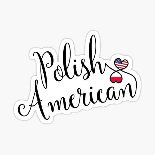 Polish American Entwined Hearts Sticker Sticker