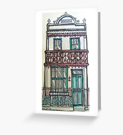 Victorian Terrace house, Melbourne, Australia. ©  Pen and wash on fabric. Greeting Card