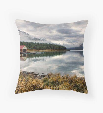 Maligne Lake Boat House Throw Pillow