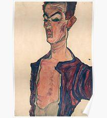 Egon Schiele - Self-Portrait, Grimacing, 1910 Poster