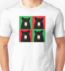 BLACK BEAR ON RED & GREEN Unisex T-Shirt