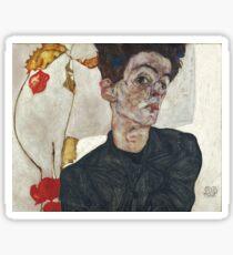 Egon Schiele Autoportrait avec Physalis, 1912 Sticker