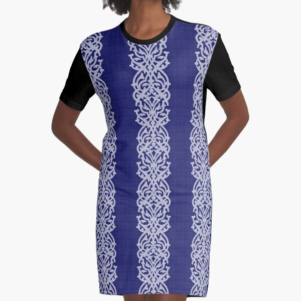 Indigo Large Arabesque Graphic T-Shirt Dress