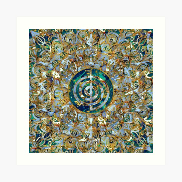 Choku Rei Symbol in Mandala on Marble and Gold Art Print