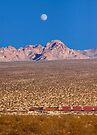 Freight train running across Mojave Desert. by Alex Preiss