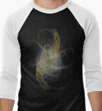 Burning Eye Crystal Ball Fractal on Black Men's Baseball ¾ T-Shirt