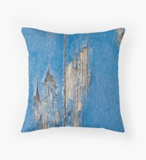 Blue Cracked Wood Throw Pillow
