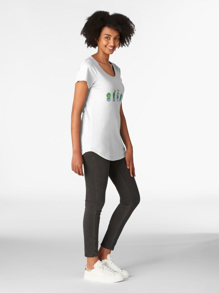 Vista alternativa de Camiseta premium de cuello ancho Cactus en acuarela