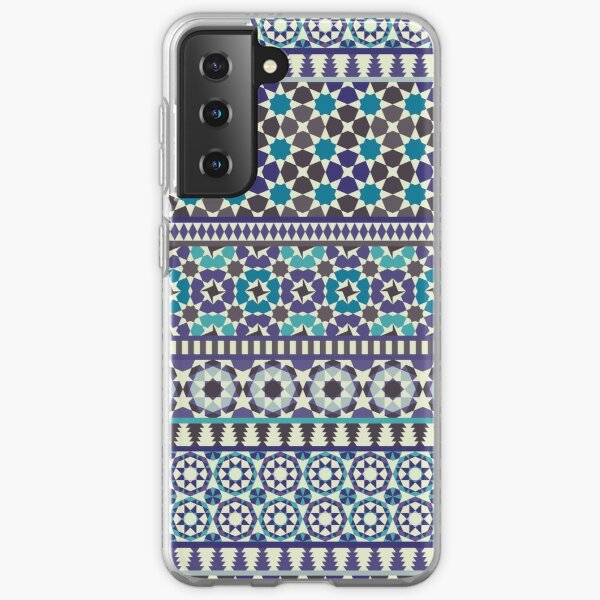 Alhambra Tessellations - Turquoise, Violet and grey on white by Cecca Designs Samsung Galaxy Soft Case