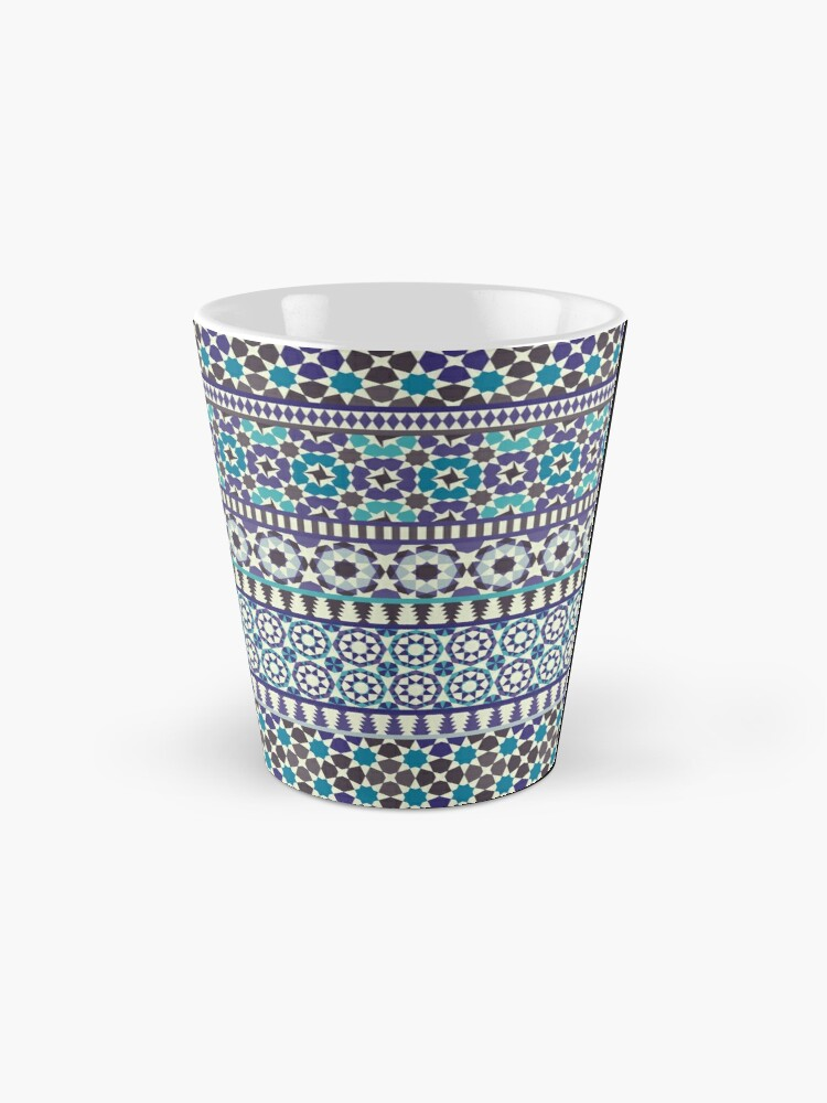 Alternate view of Alhambra Tessellations - Turquoise, Violet and grey on white by Cecca Designs Mug