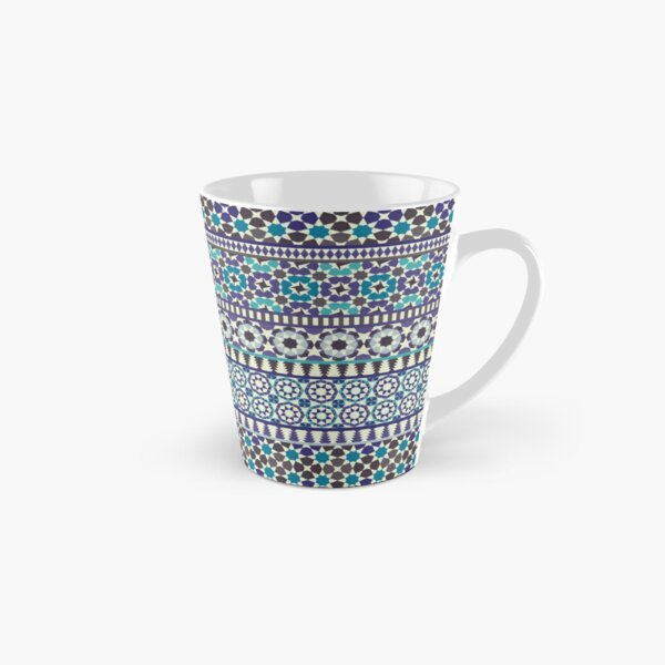 Alhambra Tessellations - Turquoise, Violet and grey on white by Cecca Designs Tall Mug