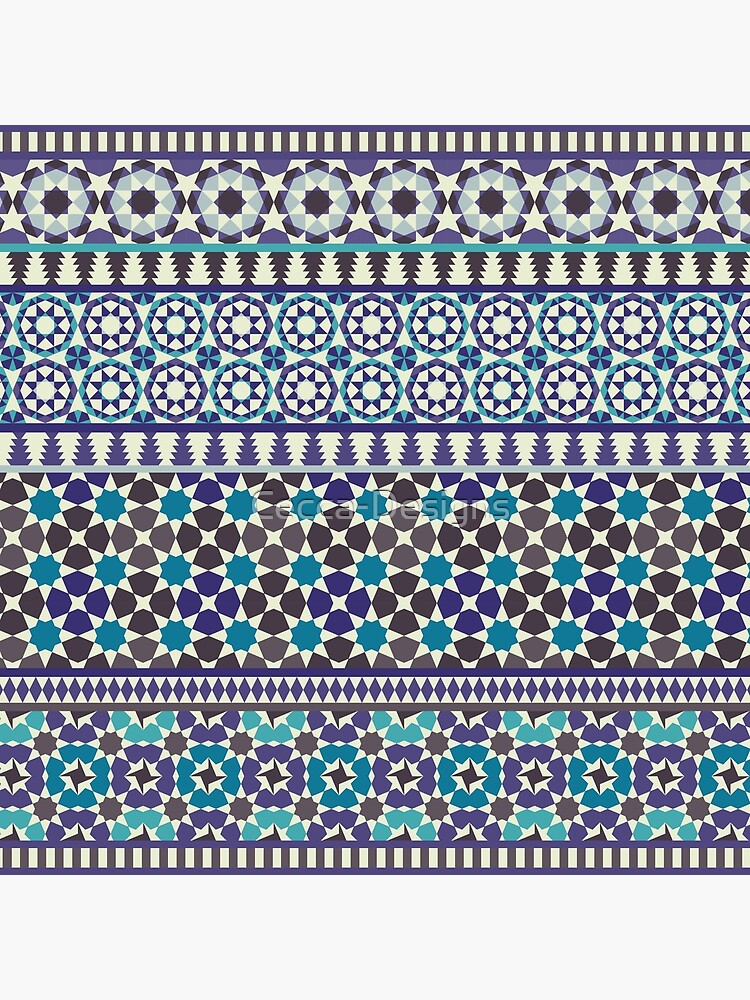Alhambra Tessellations - Turquoise, Violet and grey on white by Cecca Designs by Cecca-Designs