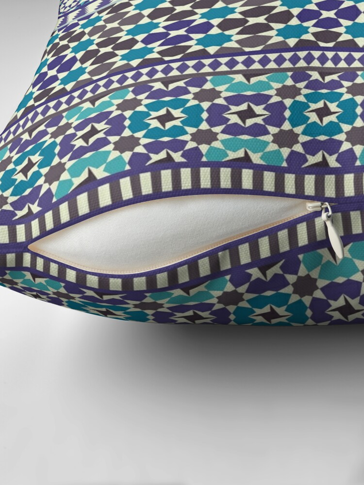 Alternate view of Alhambra Tessellations - Turquoise, Violet and grey on white by Cecca Designs Floor Pillow