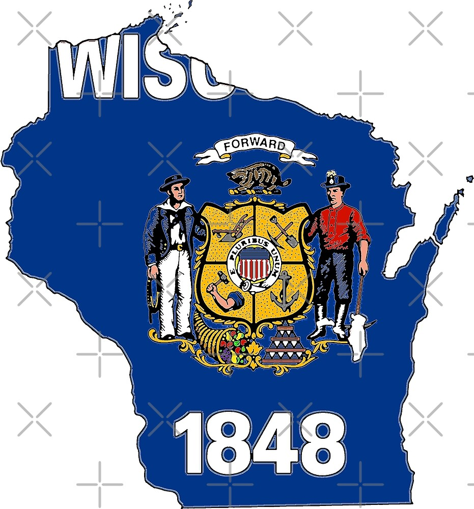 Wisconsin Map with Wisconsin State Flag by Havocgirl