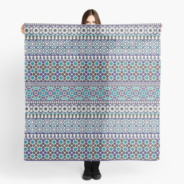 Alhambra Tessellations - Turquoise, Violet and grey on white by Cecca Designs Scarf