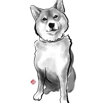 The perfect Shiba Ibu, Japanese Dog Sumi-e Painting Ink Zen Print Drawing Dog Lover Wall Deco Pet Brush illustration B&W by riceandink