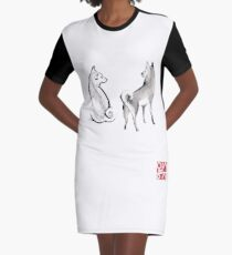 Two Shiba Inu card, Unique Sumi-e Painting, Japanese Cute dog Couple breed Ink Animal Illustration B&W Asia Zen Birthday Poster Graphic T-Shirt Dress